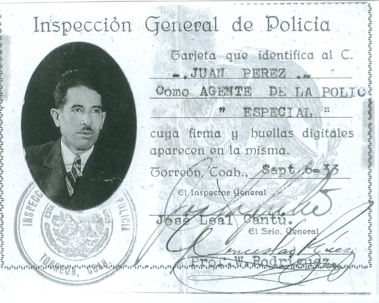 Credencial Juan Pérez. Fondo 1, Juan Pérez Gutiérrez, Archivo Histórico Juan Agustín de Espinoza, SJ. Ibero Torreón.